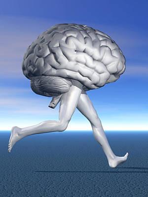 Running Brain, Conceptual Artwork Poster by Laguna Design