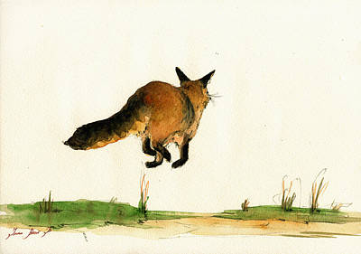 Running Fox Painting Poster by Juan  Bosco