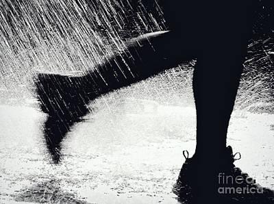 Running Through The Spray  Poster by Kathleen K Parker