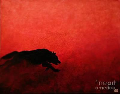 Running Wolf Poster by Olga Zavgorodnya