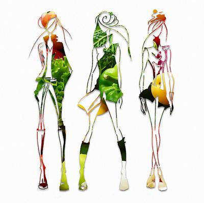 Runway Models Salad Fashion Show Poster