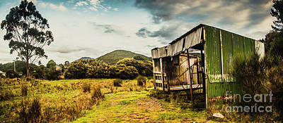 Rustic Abandoned Shed In Old Rural Countryside Poster
