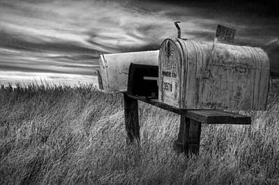 Rural Mailboxes In Black And White On The Prairie Poster by Randall Nyhof
