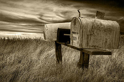 Rural Mailboxes In Sepia Poster by Randall Nyhof