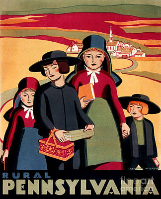 Rural Pennsylvania 1938, Amish Children On A Way To School Poster by Zalman Latzkovich
