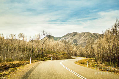 Rural Road To Australian Mountains Poster
