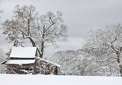 Rural Winter Barn Poster by Benanne Stiens