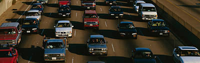 Rush Hour Traffic On Los Angeles Freeway Poster by Panoramic Images