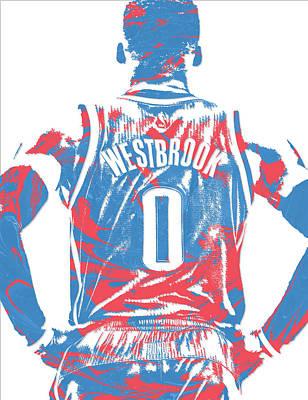 Russell Westbrook Oklahoma City Thunder Pixel Art 16 Poster
