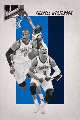 Russell Westbrook Thunder Poster by Joe Hamilton