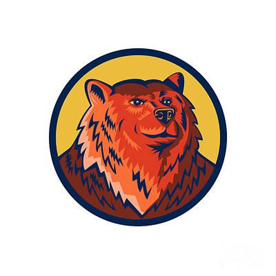 Russian Bear Head Circle Retro Poster by Aloysius Patrimonio