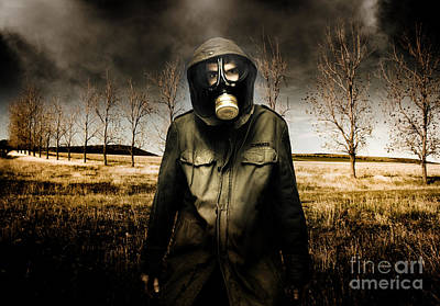 Russian Military Fighter Standing In A Dead Autumn Field As Contaminated Poisonous Air Falls From Th Poster by Caio Caldas