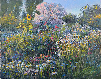 Poster featuring the painting Russian Olive Among Daisies by Steve Spencer