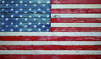 Rustic American Flag On Wood Poster