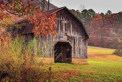 Rustic Barn In Autumn Poster
