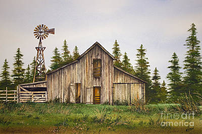 Poster featuring the painting Rustic Barn by James Williamson