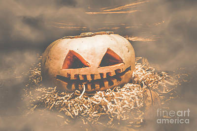 Rustic Barn Pumpkin Head In Horror Fog Poster