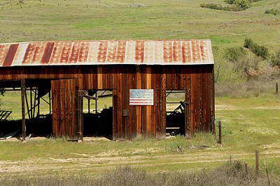 Poster featuring the photograph Rustic Barn With Flag by Art Block Collections