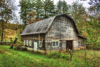 Rustic Gambrel Style Mountain Barn Great Smoky Mountains Poster by Reid Callaway