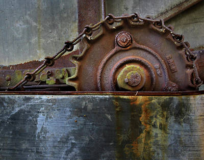 Poster featuring the photograph Rustic Gear And Chain by David and Carol Kelly