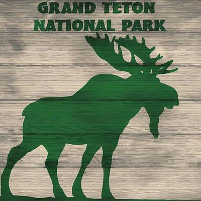 Rustic Grand Teton Moose Poster