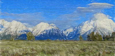 Rustic Grand Teton Range On Wood Poster by Dan Sproul