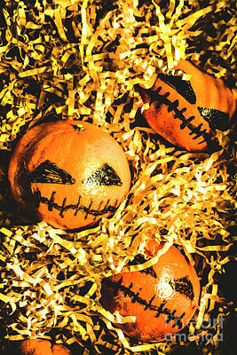 Rustic Rural Halloween Pumpkins Poster
