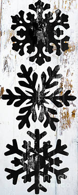 Rustic Snowflakes Poster by Mindy Sommers