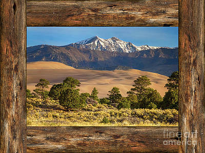 Rustic Wood Window Colorado Great Sand Dunes View Poster