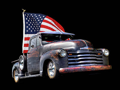 Rusty 1951 Chevy Truck With Us Flag Poster by Gill Billington