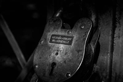 Poster featuring the photograph Rusty Lock In Bw by Doug Camara