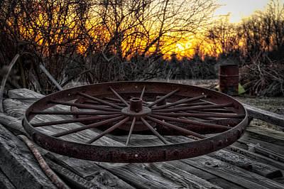Rusty Wagon Wheel At Sunset Poster