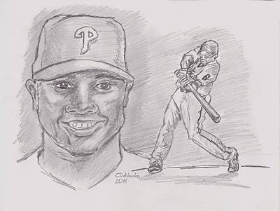 Poster featuring the drawing Ryan Howard The Big Piece by Chris  DelVecchio