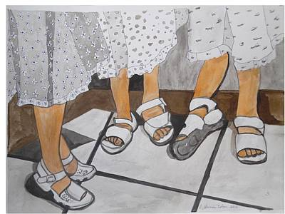 Poster featuring the painting Sabbath Sandals by Esther Newman-Cohen