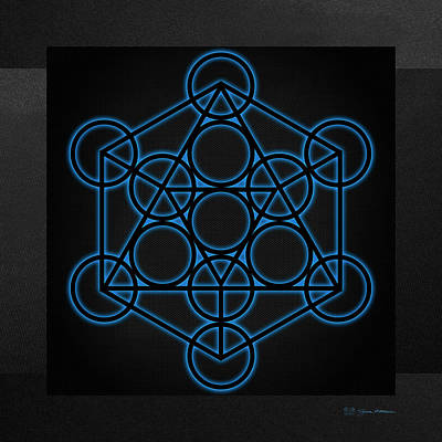 Sacred Geometry - Black Icosahedron With Blue Halo Over Black Canvas Poster