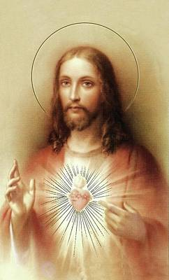 Poster featuring the mixed media Sacred Heart Of Jesus by Movie Poster Prints