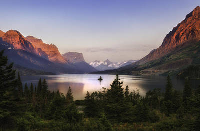 Sacred Sunrise Of St Mary Lake-glacier National Park Poster by Thomas Schoeller