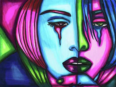 Sad Crying Woman Face Abstract Art Poster