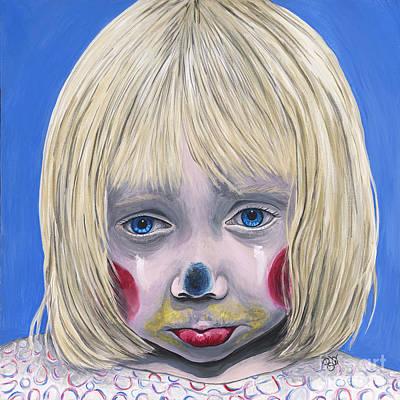 Sad Little Girl Clown Poster by Patty Vicknair