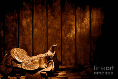 Saddle In The Corner - Sepia Poster by Olivier Le Queinec