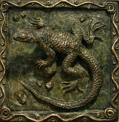 Poster featuring the sculpture Sagebrush Lizard by Dawn Senior-Trask