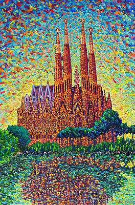 Sagrada Familia Barcelona Modern Impressionist Palette Knife Oil Painting By Ana Maria Edulescu Poster