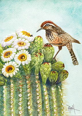 Poster featuring the painting Saguaro And Cactus Wren by Marilyn Smith