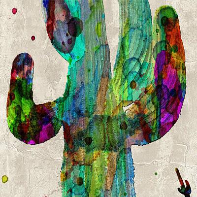 Saguaro Cactus Rainbow Print Poster Poster