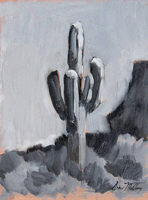 Poster featuring the painting Saguaro Plein Air Study by Diane McClary