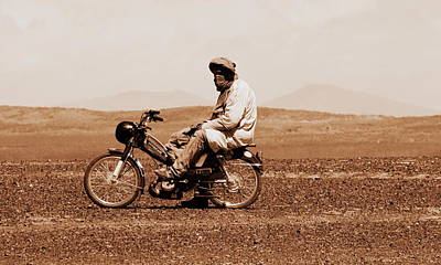 Poster featuring the photograph Sahara Biker by Ramona Johnston