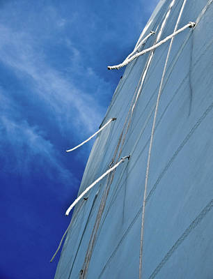 Sail And Blue Clouds Portrait Poster