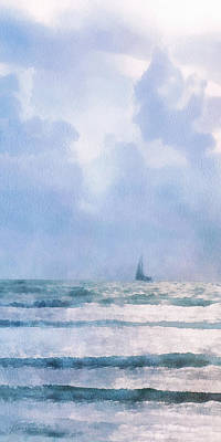 Poster featuring the digital art Sail At Sea by Francesa Miller