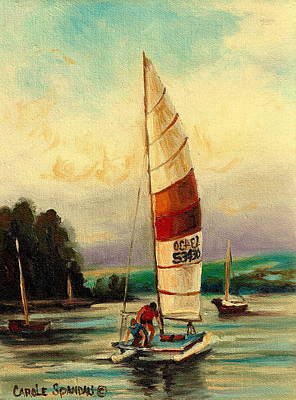 Sail Boats At Sea Poster by Carole Spandau