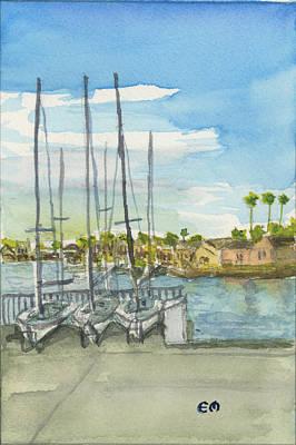 Sail Boats Docked Poster